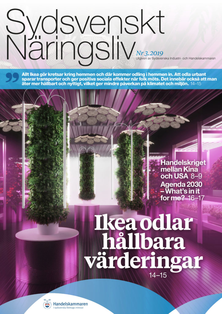 Omslaget för tidningen Sydsvenskt Näringsliv 3 2019 visar hydroponisk odling i lila ljus på Ikeas utställning på Chelsea Flower Show.